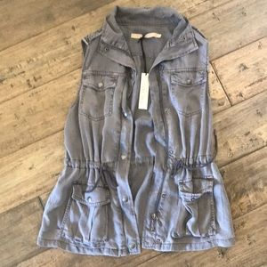 Max jeans gray utility vest XS new with tags